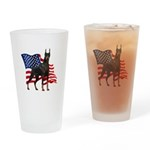 American Flag Doberman Drinking Glass