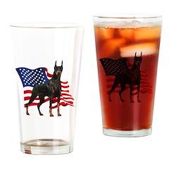 American Flag Doberman Drinking Glass