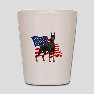 American Flag Doberman Shot Glass