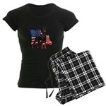 American Flag Doberman Women's Dark Pajamas