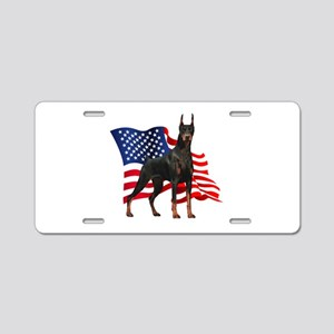 American Flag Doberman Aluminum License Plate