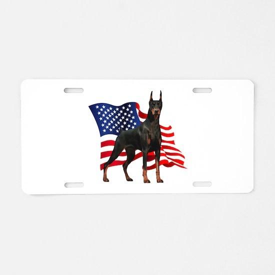American Flag Doberman Aluminum License Plate