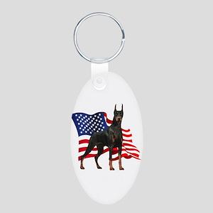 American Flag Doberman Aluminum Oval Keychain
