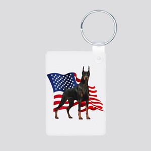 American Flag Doberman Aluminum Photo Keychain