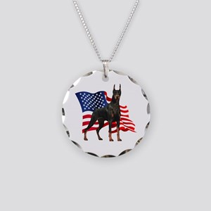 American Flag Doberman Necklace Circle Charm