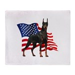 American Flag Doberman Throw Blanket