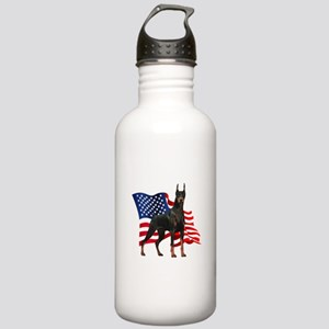 American Flag Doberman Stainless Water Bottle 1.0L