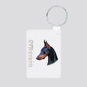 Doberman Aluminum Photo Keychain