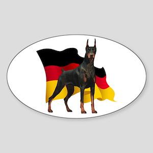German Flag Doberman Sticker (Oval)