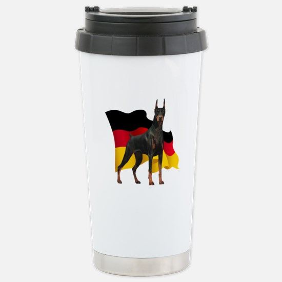 German Flag Doberman Stainless Steel Travel Mug