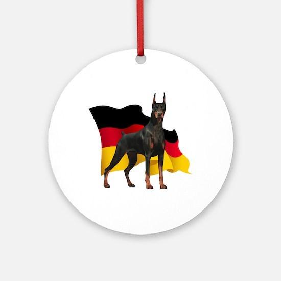 German Flag Doberman Ornament (Round)