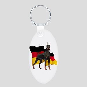 German Flag Doberman Aluminum Oval Keychain