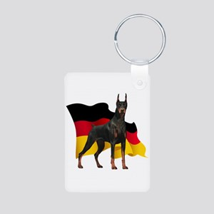 German Flag Doberman Aluminum Photo Keychain