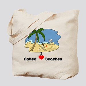 I Love Naked Beaches Tote Bag