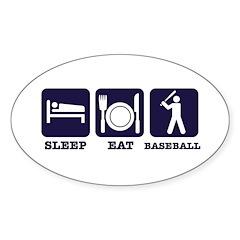 Sleep eat baseball Sticker (Oval 10 pk)