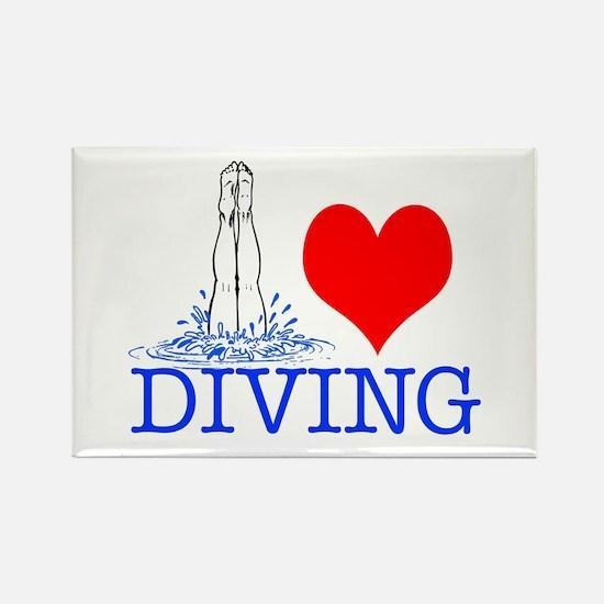 Love (heart) Diving Rectangle Magnet