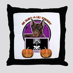Just a Lil Spooky Dobie Throw Pillow