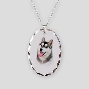 Siberian Husky Necklace Oval Charm