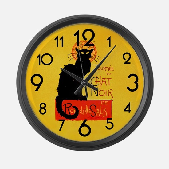 Chat Noir Black Cat Large Wall Clock