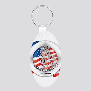 A Mustang Horse Aluminum Oval Keychain