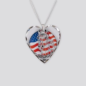 A Mustang Horse Necklace Heart Charm