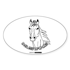 Mustang Plain Horse Sticker (Oval 50 pk)