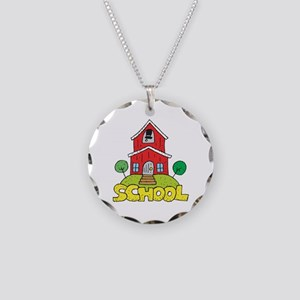 School House Necklace Circle Charm