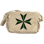 Green Maltese Cross Messenger Bag