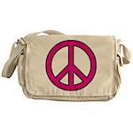 Pink Peace Sign Messenger Bag