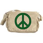 Green Peace Sign Messenger Bag