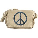 Blue Peace Sign Messenger Bag
