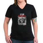 STOP ANIMAL TESTING - Women's V-Neck Dark T-Shirt