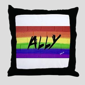 ALLY gay rainbow art Throw Pillow