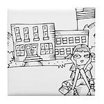 School Girl Tile Coaster