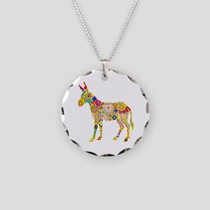 Flower Donkey - Necklace Circle Charm