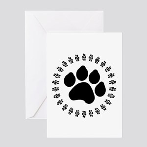 Black Paw Print Greeting Card