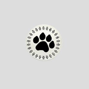 Black Paw Print Mini Button