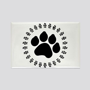 Black Paw Print Rectangle Magnet