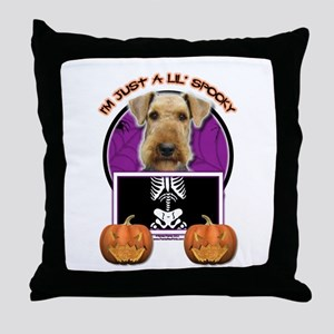 Just a Lil Spooky Airedale Throw Pillow