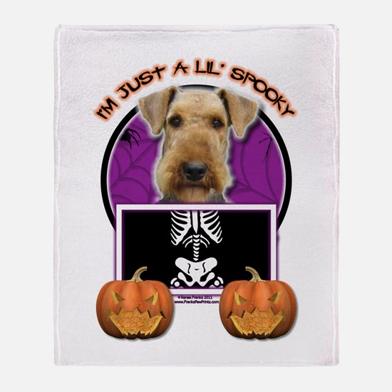 Just a Lil Spooky Airedale Throw Blanket