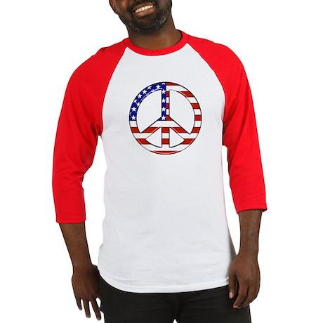 Peace flag Baseball Tee (Blue sleeves also avail.)