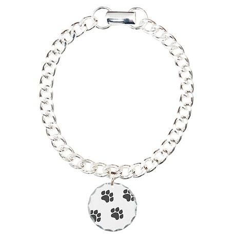 Black Paw Prints Charm Bracelet, One Charm