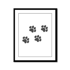 Black Paw Prints Framed Panel Print