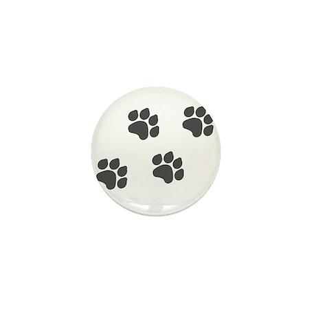 Black Paw Prints Mini Button