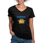 OYOOS Stars design Women's V-Neck Dark T-Shirt