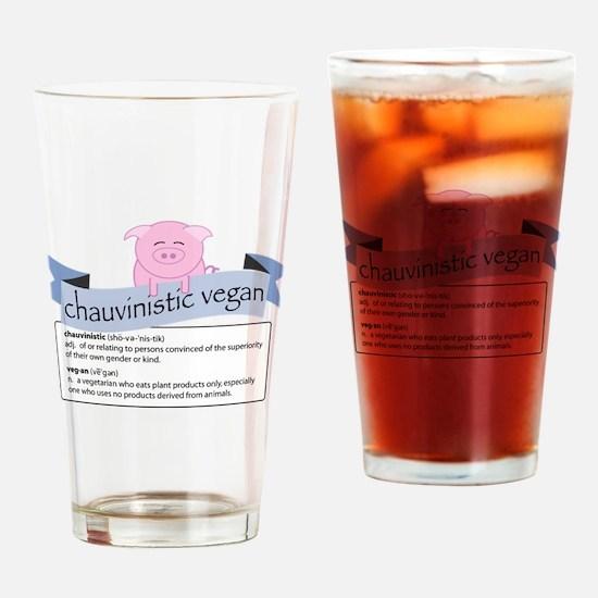 Chauvinistic Vegan Female Pig Drinking Glass