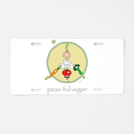 Peas-ful Vegan Aluminum License Plate