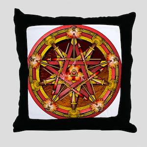 Fire Elemental Pentacle Throw Pillow