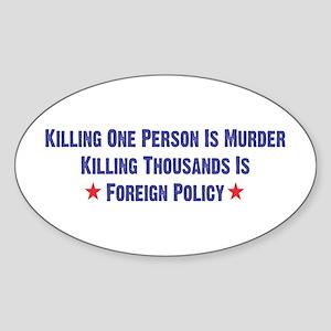 Killing Thousands Oval Sticker