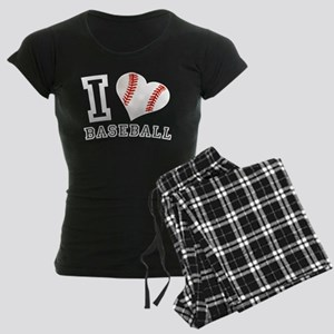 I Love Baseball Graphic Women's Dark Pajamas